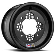 WHEEL FRONT ROK2J 10X5 4/156 3,875B+1,125N ALUMINUM ROLLED-LIP POWDER-COATED BLACK