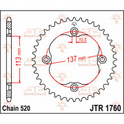 SPROCKET REAR 38T 520 | Fabrikantcode: JTR1760.38 | Fabrikant: JT SPROCKETS | Cataloguscode: 1210-0258