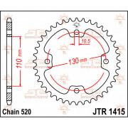 SPROCKET RR KFX450R 38T | Fabrikantcode: JTR1415.38 | Fabrikant: JT SPROCKETS | Cataloguscode: 1210-0785