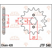 SPROCKET FRONT 13T 428 | Fabrikantcode: JTF548.13 | Fabrikant: JT SPROCKETS | Cataloguscode: 1212-0121
