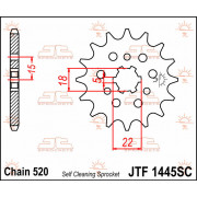 SPROCKET FRONT 12T 520 SC   Fabrikantcode: JTF1445.12SC   Fabrikant: JT SPROCKETS   Cataloguscode: 1212-0506