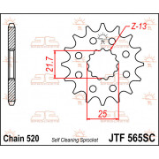 SPROCKET FRONT 14T 520 SC | Fabrikantcode: JTF565.14SC | Fabrikant: JT SPROCKETS | Cataloguscode: 1212-0522