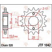 SPROCKET FRONT 14T 520 | Fabrikantcode: JTF1042.14 | Fabrikant: JT SPROCKETS | Cataloguscode: 1212-0529