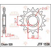 SPROCKET FRONT 16T 520 | Fabrikantcode: JTF1536.16 | Fabrikant: JT SPROCKETS | Cataloguscode: 1212-0755