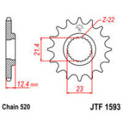 SPROCKET FRONT 14T 520 | Fabrikantcode: JTF1593.14 | Fabrikant: JT SPROCKETS | Cataloguscode: 1212-0761