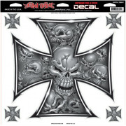 DECAL GRAY SKULL CROSS | Fabrikantcode: LT06008 | Fabrikant: LETHAL THREAT | Cataloguscode: 4320-1247