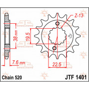 SPROCKET FRONT 13T 520 | Fabrikantcode: JTF1401.13 | Fabrikant: JT SPROCKETS | Cataloguscode: JTF1401-13