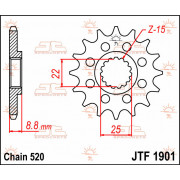 SPROCKET FRONT 12T 520 | Fabrikantcode: JTF1901.12 | Fabrikant: JT SPROCKETS | Cataloguscode: JTF1901-12