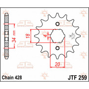 SPROCKET FRONT 15T 428 | Fabrikantcode: JTF259.15 | Fabrikant: JT SPROCKETS | Cataloguscode: JTF259-15