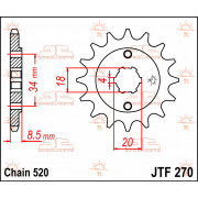 SPROCKET FRONT 14T 520 | Fabrikantcode: JTF270.14 | Fabrikant: JT SPROCKETS | Cataloguscode: JTF270-14
