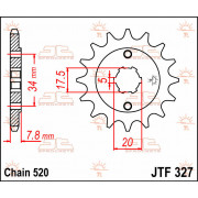 SPROCKET FRONT 14T 520 | Fabrikantcode: JTF327.14 | Fabrikant: JT SPROCKETS | Cataloguscode: JTF327-14