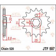 SPROCKET FRONT 14T 520 | Fabrikantcode: JTF507.14 | Fabrikant: JT SPROCKETS | Cataloguscode: JTF507-14