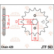 SPROCKET FRONT 13T 420 | Fabrikantcode: JTF563.13 | Fabrikant: JT SPROCKETS | Cataloguscode: JTF563-13