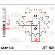 SPROCKET FRONT 14T 520 | Fabrikantcode: JTF569.14 | Fabrikant: JT SPROCKETS | Cataloguscode: JTF569-14