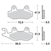 Remblokken DERBI 200 DXR 04-05 achteraan. (Model met de remtrommels vooraan)