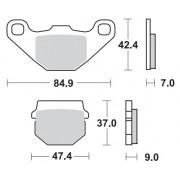 Remblokken Barossa/SMC 250 vooraan links. (Model met de remschijven vooraan)