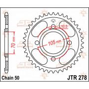 JT SPROCKETS | JTR278.38 REAR REPLACEMENT SPROCKET / 38 TEETH / 530 PITCH / NATURAL / STEEL | Artikelcode: JTR278.38 | Catalogus