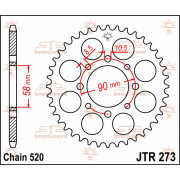 JT SPROCKETS | JTR273.42 REAR REPLACEMENT SPROCKET / 42 TEETH / 520 PITCH / NATURAL / STEEL | Artikelcode: JTR273.42 | Catalogus