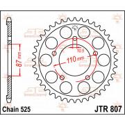 JT SPROCKETS | JTR807.44 REAR REPLACEMENT SPROCKET / 44 TEETH / 525 PITCH / NATURAL / STEEL | Artikelcode: JTR807.44 | Catalogus