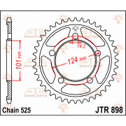 JT SPROCKETS | JTR898.41 REAR REPLACEMENT SPROCKET / 41 TEETH / 525 PITCH / NATURAL / STEEL | Artikelcode: JTR898.41 | Catalogus