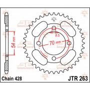 JT SPROCKETS | JTR263.36 REAR REPLACEMENT SPROCKET / 36 TEETH / 428 PITCH / NATURAL / C49 HIGH CARBON STEEL | Artikelcode: JTR26