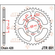 JT SPROCKETS | JTR801.38 REAR REPLACEMENT SPROCKET / 38 TEETH / 420 PITCH / NATURAL / C49 HIGH CARBON STEEL | Artikelcode: JTR80