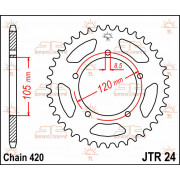 JT SPROCKETS | JTR24.50 REAR REPLACEMENT SPROCKET / 50 TEETH / 420 PITCH / NATURAL / C49 HIGH CARBON STEEL | Artikelcode: JTR24.
