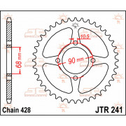 JT SPROCKETS | JTR241.53 REAR REPLACEMENT SPROCKET / 53 TEETH / 428 PITCH / NATURAL / C49 HIGH CARBON STEEL | Artikelcode: JTR24