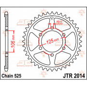 JT SPROCKETS | JTR2014.47 REAR REPLACEMENT SPROCKET / 47 TEETH / 525 PITCH / NATURAL / CARBON STEEL | Artikelcode: JTR2014.47 |
