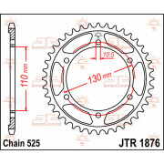 JT SPROCKETS | JTR1876.43 REAR REPLACEMENT SPROCKET / 43 TEETH / 525 PITCH / NATURAL / STEEL | Artikelcode: JTR1876.43 | Catalog