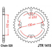 JT SPROCKETS | JTR1415.37 REAR REPLACEMENT SPROCKET / 37 TEETH / 520 PITCH / NATURAL / C49 HIGH CARBON STEEL | Artikelcode: JTR1
