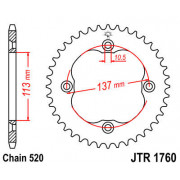 JT SPROCKETS | JTR1760.35 REAR REPLACEMENT SPROCKET / 35 TEETH / 520 PITCH / BLACK / C49 HIGH CARBON STEEL | Artikelcode: JTR176