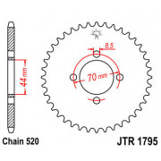 JT SPROCKETS | JTR1795.24 REAR REPLACEMENT SPROCKET / 24 TEETH / 520 PITCH / BLACK / C49 HIGH CARBON STEEL | Artikelcode: JTR179