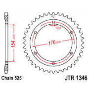 JT SPROCKETS | JTR1346.43 REAR REPLACEMENT SPROCKET / 43 TEETH / 525 PITCH / NATURAL / | Artikelcode: JTR1346.43 | Cataloguscode