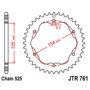 JT SPROCKETS | JTR761.38 REAR REPLACEMENT SPROCKET / 38 TEETH / 525 PITCH / NATURAL / | Artikelcode: JTR761.38 | Cataloguscode: