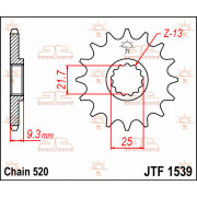 JT SPROCKETS | JTF1538.15 FRONT REPLACEMENT SPROCKET / 15 TEETH / 630 PITCH / NATURAL / STEEL | Artikelcode: JTF1538.15 | Catalo