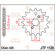 JT SPROCKETS | JTF1128.12 FRONT REPLACEMENT SPROCKET / 12 TEETH / 420 PITCH / NATURAL / STEEL | Artikelcode: JTF1128.12 | Catalo