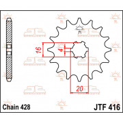 JT SPROCKETS | JTF416.13 FRONT REPLACEMENT SPROCKET / 13 TEETH / 420 PITCH / NATURAL / STEEL | Artikelcode: JTF416.13 | Catalogu