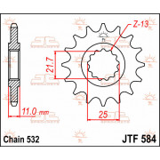 JT SPROCKETS | JTF584.15 FRONT REPLACEMENT SPROCKET / 15 TEETH / 532 PITCH / NATURAL / STEEL | Artikelcode: JTF584.15 | Catalogu