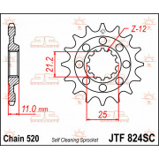 JT SPROCKETS | JTF824.14SC FRONT SELF CLEANING SPROCKET / 14 TEETH / 520 PITCH / NATURAL / CHROMOLY STEEL ALLOY | Artikelcode: J