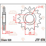 JT SPROCKETS | JTF578.15 FRONT REPLACEMENT SPROCKET / 15 TEETH / 520 PITCH / NATURAL / CHROMOLY STEEL ALLOY | Artikelcode: JTF57