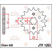JT SPROCKETS | JTF1263.17 FRONT REPLACEMENT SPROCKET / 17 TEETH / 428 PITCH / NATURAL / CHROMOLY STEEL ALLOY | Artikelcode: JTF1