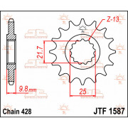 JT SPROCKETS | JTF1587.20 FRONT REPLACEMENT SPROCKET / 20 TEETH / 428 PITCH / NATURAL / CHROMOLY STEEL ALLOY | Artikelcode: JTF1