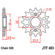 JT SPROCKETS   JTF403.14 FRONT REPLACEMENT SPROCKET / 14 TEETH / 520 PITCH / NATURAL / SCM420 CHROMOLY STEEL ALLOY   Artikelcode