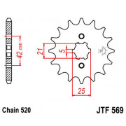 JT SPROCKETS | JTF569.18 FRONT REPLACEMENT SPROCKET / 18 TEETH / 520 PITCH / NATURAL / SCM420 CHROMOLY STEEL ALLOY | Artikelcode