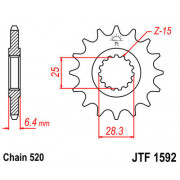 JT SPROCKETS | JTF1592.16 FRONT REPLACEMENT SPROCKET / 16 TEETH / 520 PITCH / NATURAL / SCM420 CHROMOLY STEEL ALLOY | Artikelcod