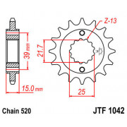 JT SPROCKETS | JTF1042.15 FRONT REPLACEMENT SPROCKET / 15 TEETH / 520 PITCH / NATURAL / SCM420 CHROMOLY STEEL ALLOY | Artikelcod