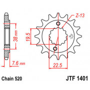 JT SPROCKETS | JTF1401.16 FRONT REPLACEMENT SPROCKET / 16 TEETH / 520 PITCH / NATURAL / SCM420 CHROMOLY STEEL ALLOY | Artikelcod