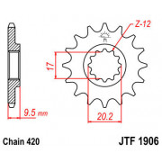 JT SPROCKETS   JTF1906.15 FRONT REPLACEMENT SPROCKET / 15 TEETH / 420 PITCH / NATURAL / SCM420 CHROMOLY STEEL ALLOY   Artikelcod