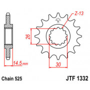 JT SPROCKETS | JTF1332.16 FRONT REPLACEMENT SPROCKET / 16 TEETH / 525 PITCH / NATURAL / SCM420 CHROMOLY STEEL ALLOY | Artikelcod